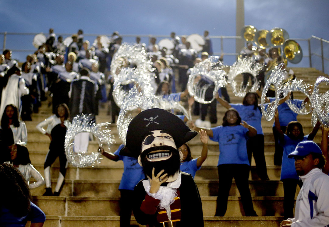The First Coast Buccaneers mascot in the stands against the Gainesville Hurricanes on Friday, Sept. 4, 2015 in Gainesville, Fla. Gainesville defeated First Coast 31-26. Matt Stamey/Staff photographer