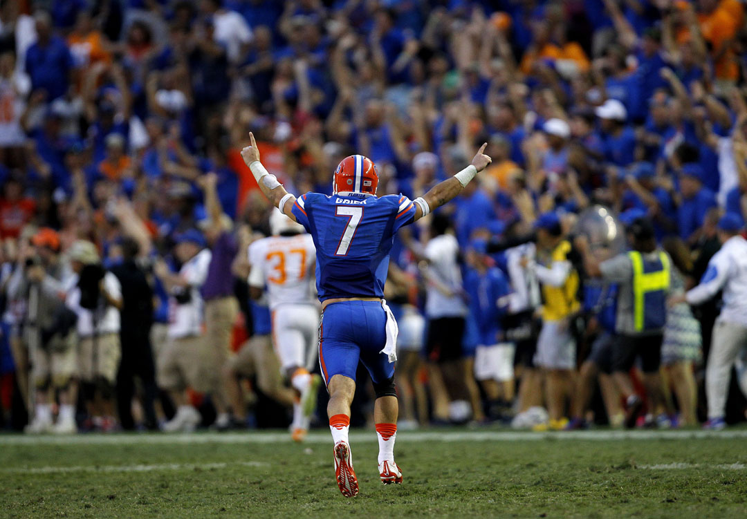 Florida Gators quarterback Will Grier (7) celebrates after throwing a touchdown pass in the fourth quarter against the Tennessee Volunteers on Saturday, Sept. 26, 2015 in Gainesville, Fla. Florida defeated Tennessee 28-27. Matt Stamey/Staff photographer