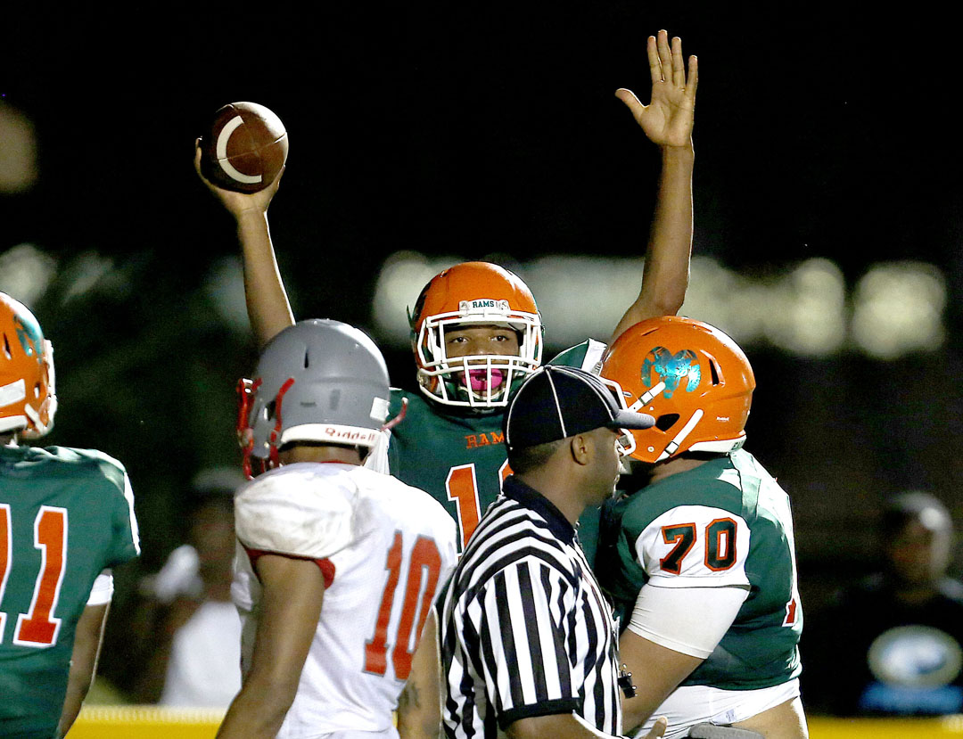 Eastside Rams quarterback Anthony Richardson celebrates after scoring a touchdown against the Santa Fe Raiders on Friday, Sept. 9, 2016 in Gainesville, FL. Santa Fe defeated Eastside 24-20. Matt Stamey/Gainesville Sun