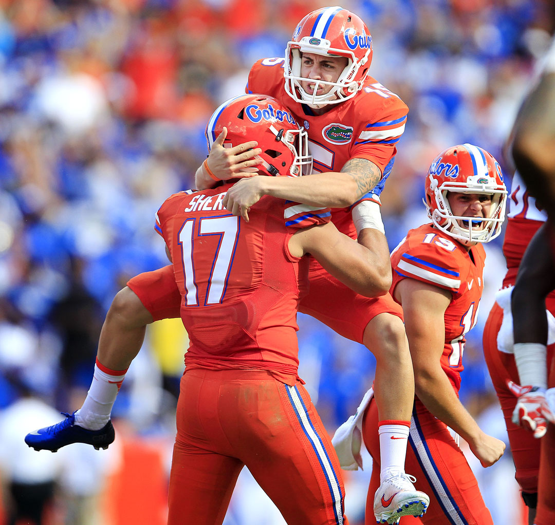 Florida Gators place kicker Eddy Pineiro (15) celebrates with defensive lineman Jordan Sherit (17) after kicking a 53-yard field goal against the Kentucky Wildcats during the first half at Steve Spurrier Florida Field at Ben Hill Griffin Stadium on Saturday, Sept. 10, 2016 in Gainesville, FL. Matt Stamey/Gainesville Sun
