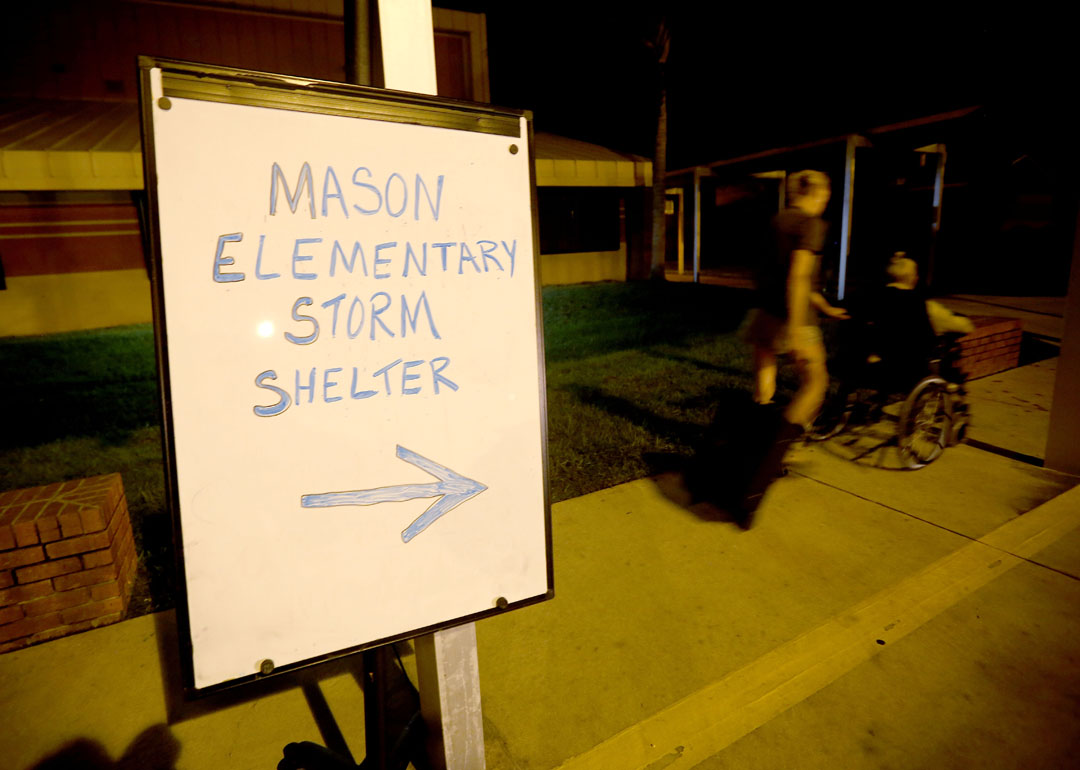 Evacuees make their way into Mason Elementary as Hurricane Matthew approaches on Thursday, Oct. 6, 2016 in St. Augustine, FL. The school's cafeteria doubled as a storm shelter. Matt Stamey/Gainesville Sun