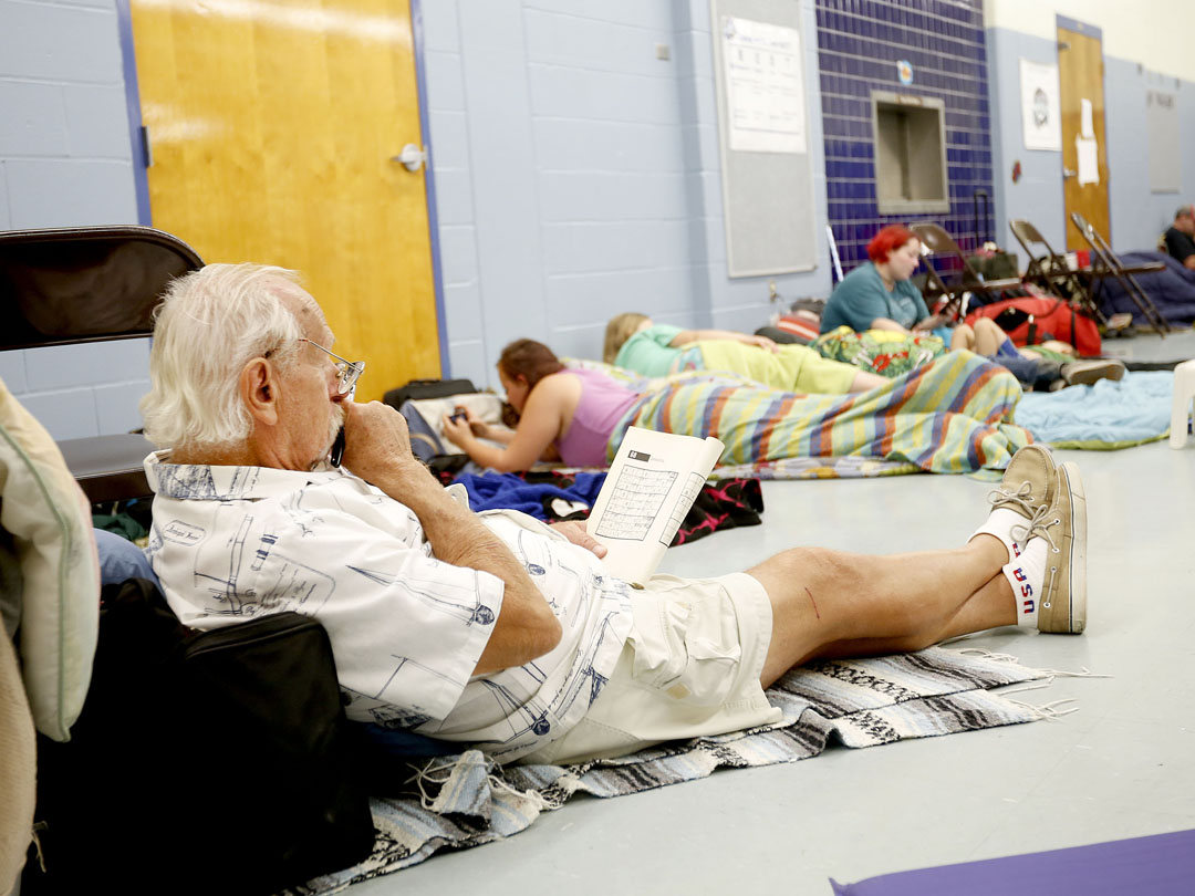 An evacuee works on Sudoku puzzles at Mason Elementary as Hurricane Matthew approaches on Thursday, Oct. 6, 2016 in St. Augustine, FL. The school's cafeteria doubled as a storm shelter. Matt Stamey/Gainesville Sun