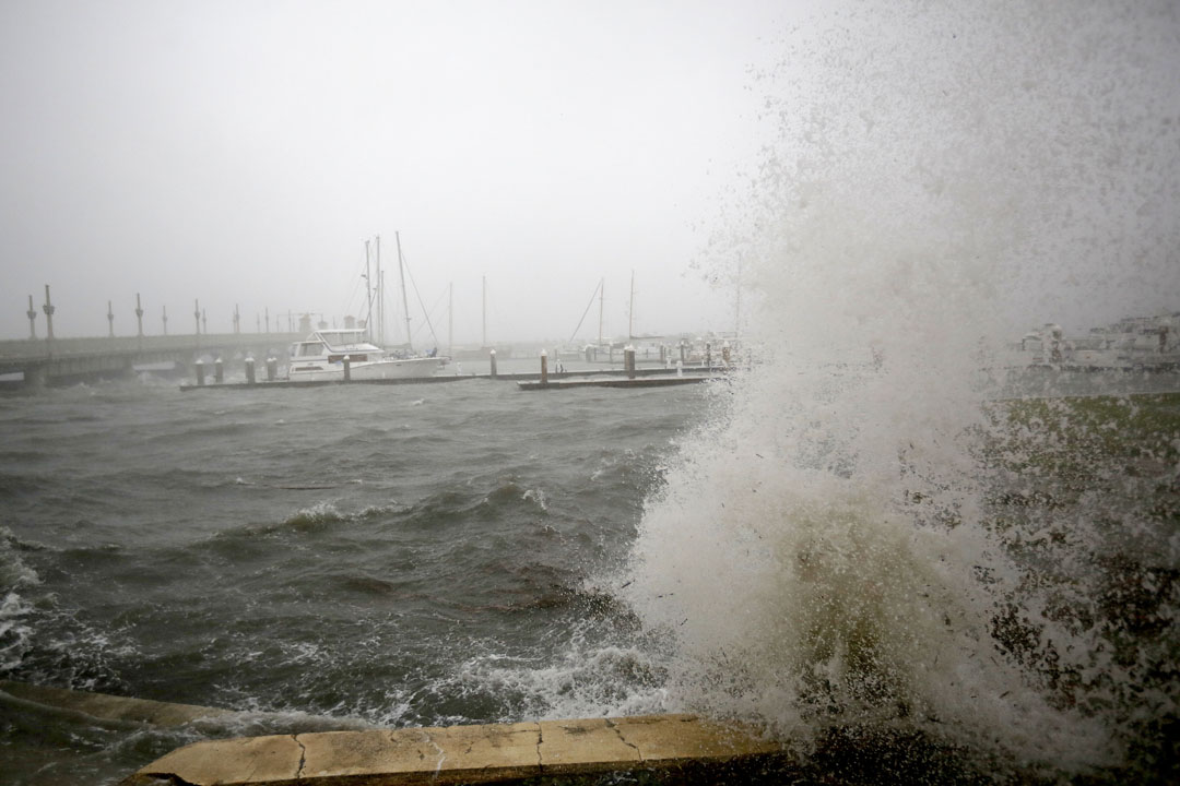 Waves crash against the seawall at the marina in downtown St. Augustine, FL during Hurricane Matthew on Thursday, Oct. 6, 2016. Matt Stamey/Gainesville Sun