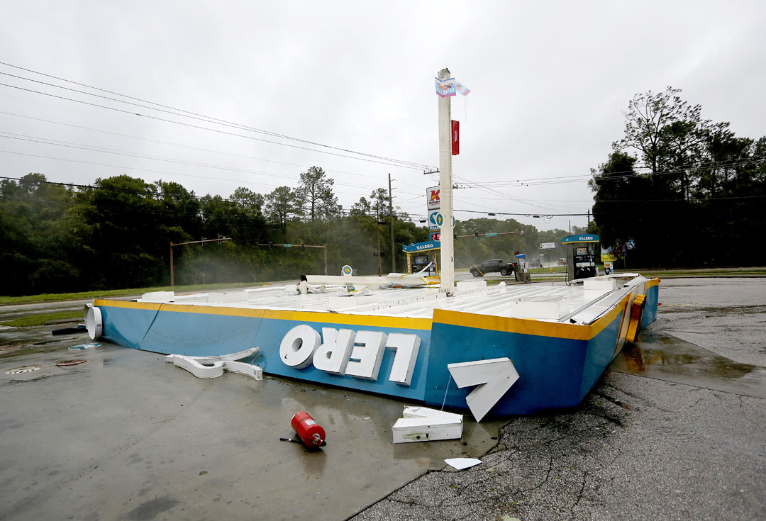 The awning of a Valero station along SR 207 collapsed during Hurricane Matthew on Thursday, Oct. 6, 2016 in St. Augustine, FL. Matt Stamey/Gainesville Sun