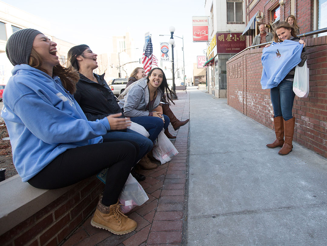 The Santa Fe Saints volleyball team explored downtown before playing in the third place match of the NJCAA National Volleyball Tournament on Saturday, Nov. 19, 2016 in Casper, WY. The Saints lost to Polk 3-1 to finish in fourth place. ***All subjects have releases***