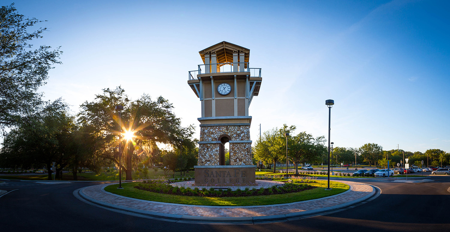 General scene the Clock Tower on campus photographed on Tuesday, May 9, 2017 in Gainesville, Fla. (photo by Matt Stamey/Santa Fe College)