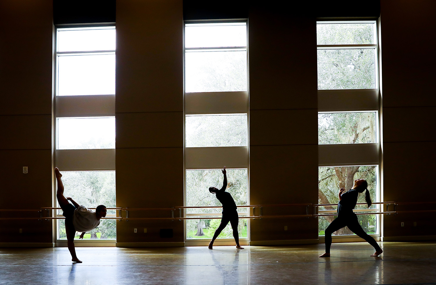 Interpretive dance students in the Fine Arts Hall on Thursday, Sept. 2017 in Gainesville, Fla. (photo by Matt Stamey/Santa Fe College) ***Subjects have Releases***