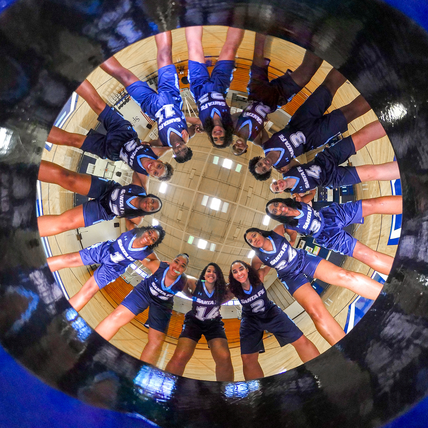 360 degree image of the Santa Fe Saints women's Basketball team on Wednesday, Sept. 27, 2017 in Gainesville, Fla. (photo by Matt Stamey/Santa Fe College) ***Subjects have Releases***