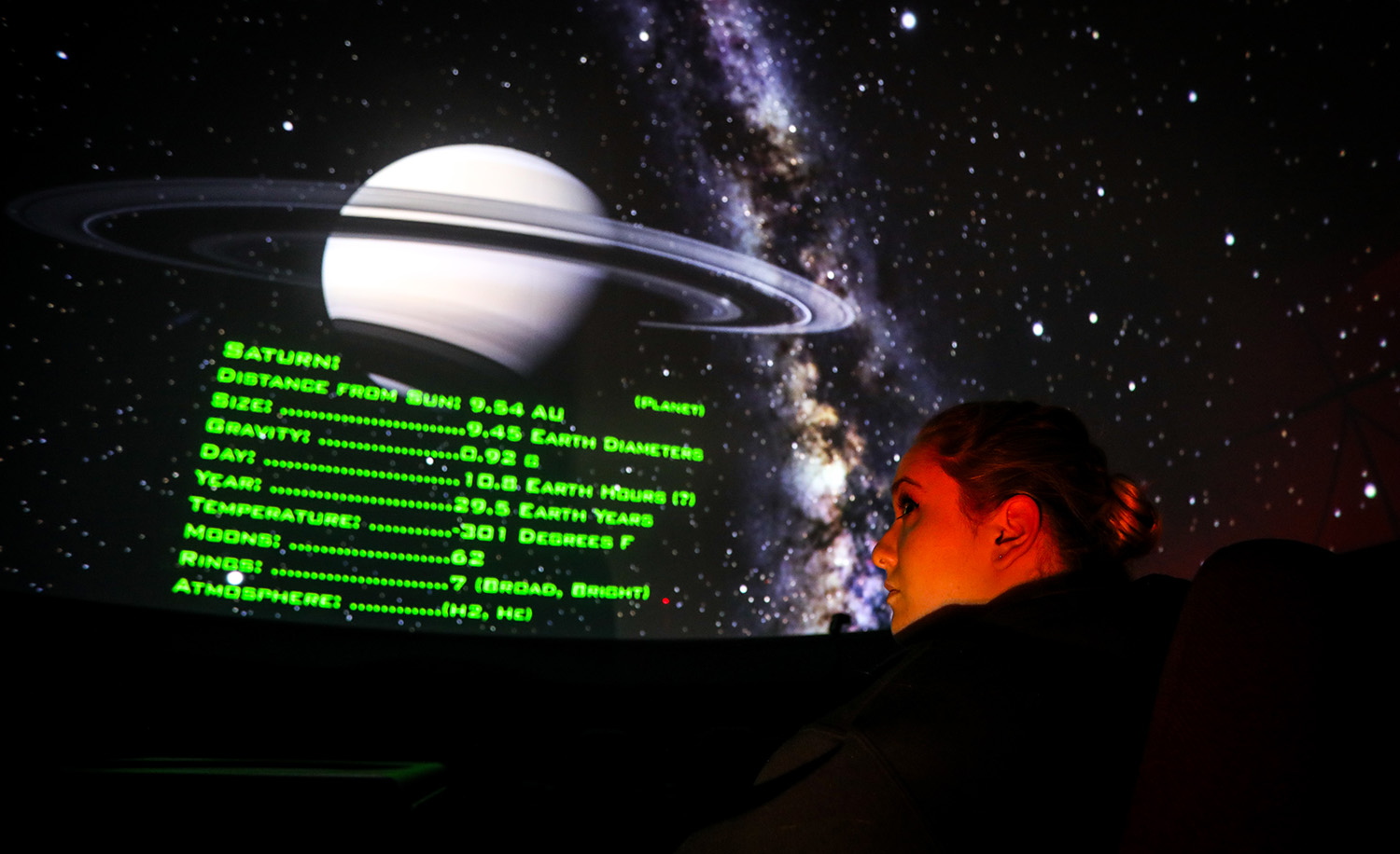 Santa Fe College students learn about constellations and planets during an Astronomy class at the Kika Silva Pla Planetarium on Tuesday, Oct. 3, 2017 in Gainesville, Fla. (photo by Matt Stamey/Santa Fe College) ***Subjects have Releases***