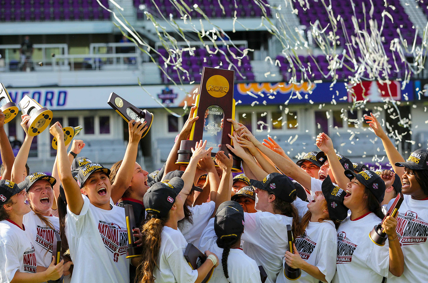 Dec 3, 2017; Orlando, FL, USA; The Stanford Cardinal celebrate after defeating the UCLA Bruins in the NCAA women's soccer College Cup championship at Orlando City Stadium. Mandatory Credit: Matt Stamey-USA TODAY Sports