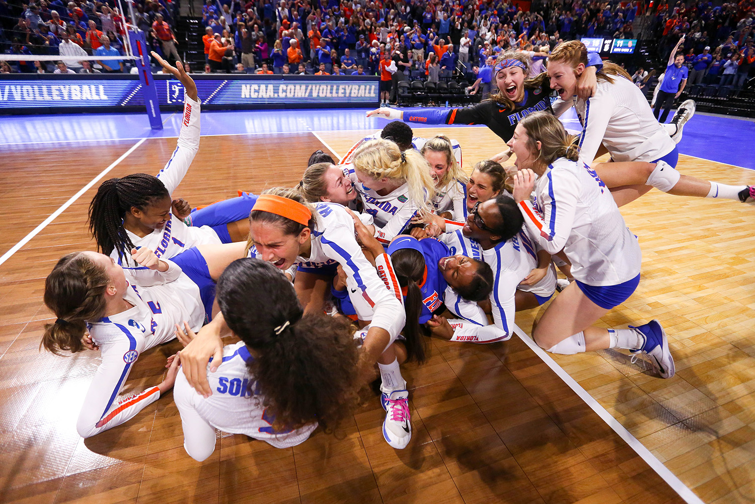 The Florida Gators defeated the USC Trojans in five sets to advance to the NCAA Final Four at the Stephen C. O'Connell Center on Dec. 9, 2017 in Gainesville, Fla. (Photo by Matt Stamey)