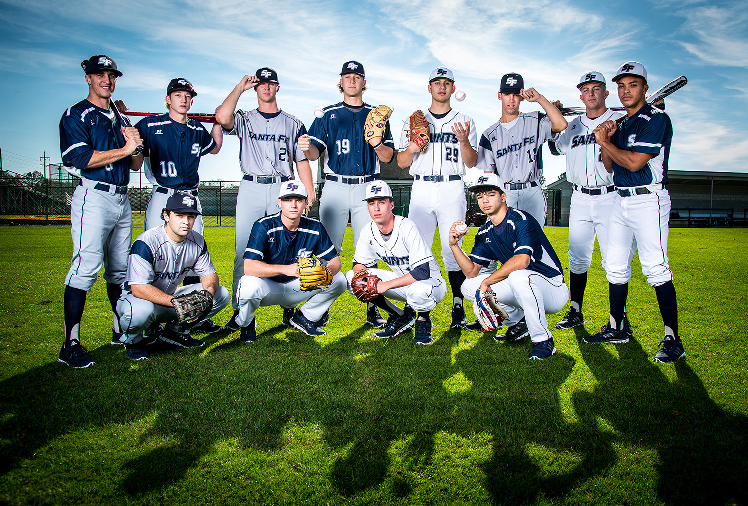 The 12 returning starters for the Santa Fe Saints baseball team pose for photo to be used on the schedule poster on Thursday, Jan. 5, 2017 in Gainesville, Fla. Photo by Matt Stamey/Santa Fe College) ***Subjects Have Releases***