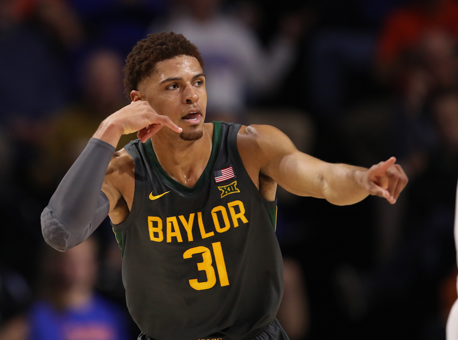 Baylor guard MaCio Teague (31) celebrates after making a three against Florida during the first half of an NCAA college basketball game Saturday, Jan. 25, 2020, in Gainesville, Fla. (AP Photo/Matt Stamey)